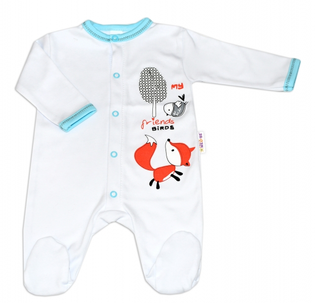 Baby Nellys Bavlnený dojčenský overal Fox - biely, veľ. 86