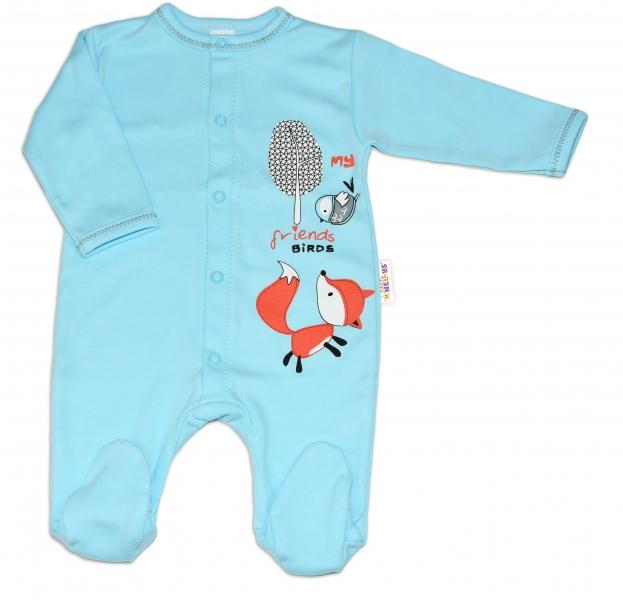 Kojenecký bavlnený dojčenský overal Fox - tyrkysový, veľ. 74