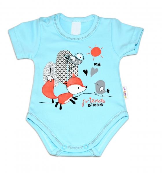 Baby Nellys Bavlnené dojčenské body, kr. rukáv, Fox - tyrkysové-56 (1-2m)