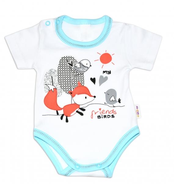 Bavlnené dojčenské body, kr. rukáv, Fox - biele, veľ. 80