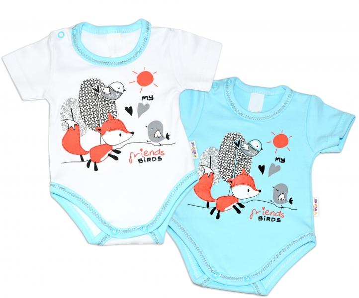 Bavlnené dojčenské body, kr. rukáv, Fox - biele, veľ. 86