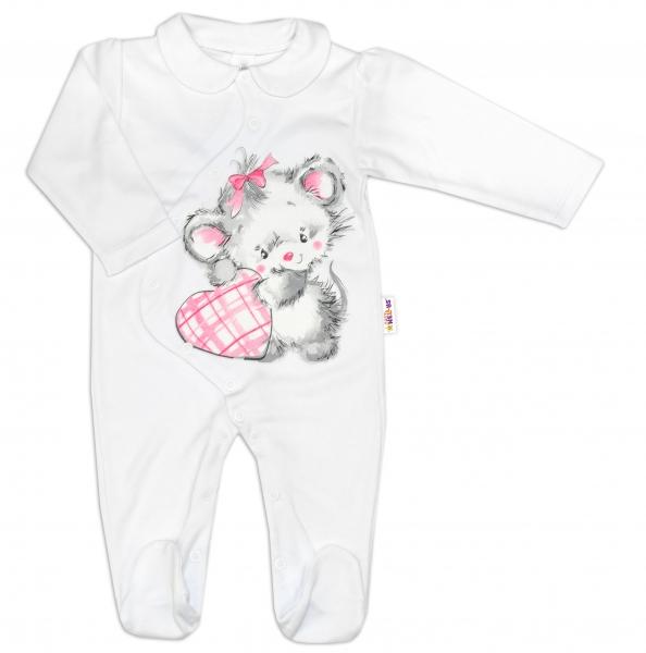 Baby Nellys Bavlnený dojčenský overal Mouse Love - biely, veľ. 80