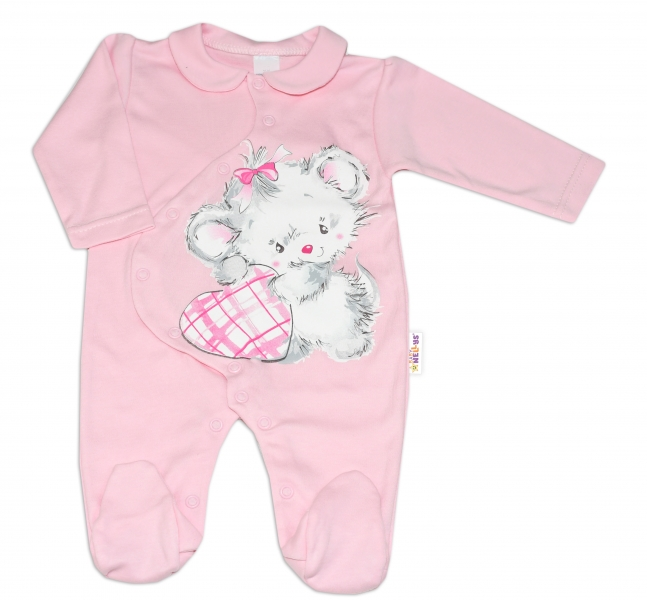 Baby Nellys Bavlnený dojčenský overal Mouse Love - růžový, veľ. 68-68 (4-6m)