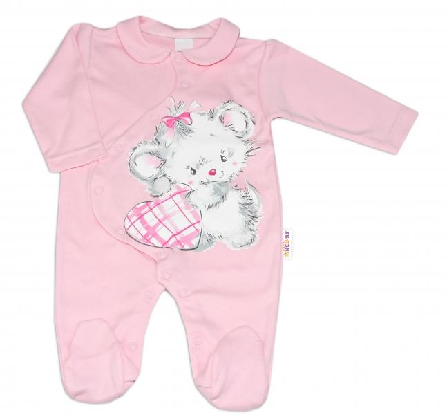 Baby Nellys Bavlnený dojčenský overal Mouse Love - ružový, veľ. 86