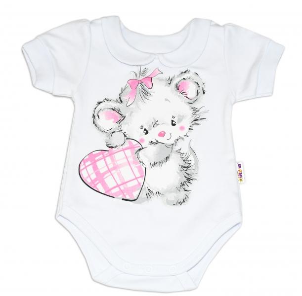 Baby Nellys Bavlnené dojčenské body, kr. rukáv, Mouse Love - biele, veľ. 74-74 (6-9m)