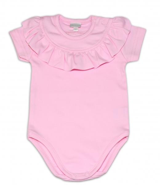 G-baby Bavlněné body s volánikom, krátky rukáv - sv. růžové, veľ. 80-80 (9-12m)