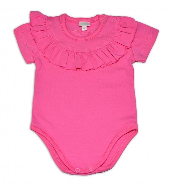 G-baby Bavlněné body s volánikom, krátky rukáv - tm. růžové, veľ. 74-74 (6-9m)