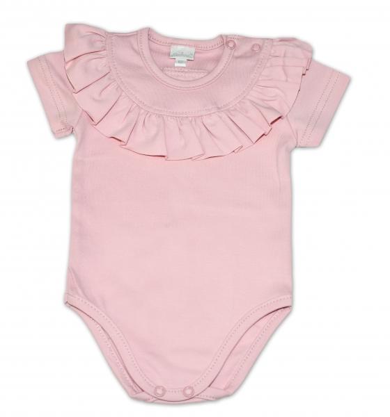 G-baby Bavlněné body s volánikom, krátky rukáv - pudrově růžové