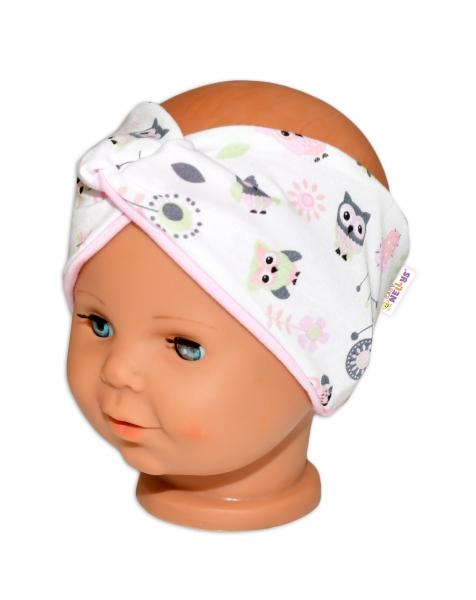 Baby Nellys Hand Made Jarná bavlnená čelenka - dvojvrstvová, sovičky - sv. růžová, 44-48cm