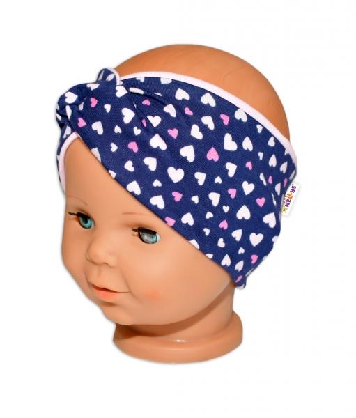 Baby Nellys Hand Made Jarná bavln. čelenka - dvojvrstvová, srdiečka - růžová/granát, 44-48-3-7 let