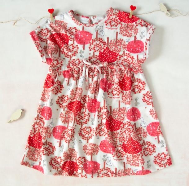 K-Baby Letné štýlové detské šatôčky Zvieratká a stromy - červené, hnedá