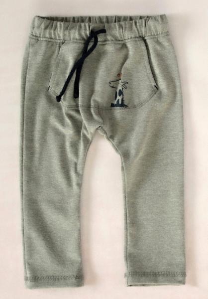 K-Baby Štýlové detské nohavice, tepláky s klokanim vreckom - šedé, veľ. 74-74 (6-9m)