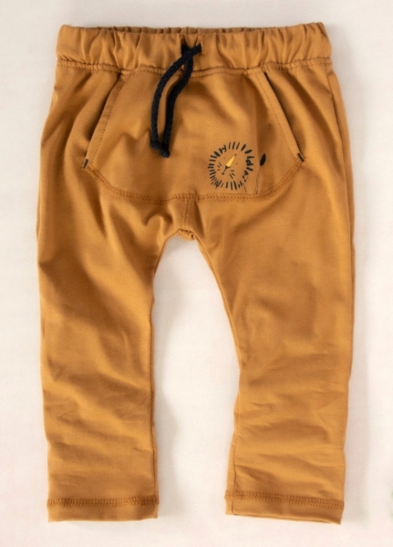 K-Baby Štýlové detské nohavice, tepláky s klokanim vreckom - horčicové, veľ. 80