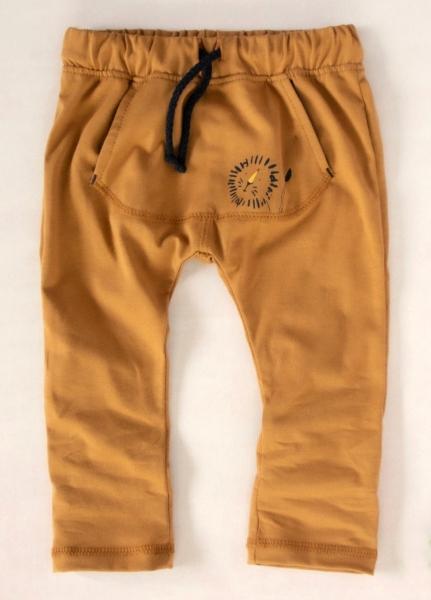 K-Baby Štýlové detské nohavice, tepláky s klokanim vreckom - horčicové, veľ. 92