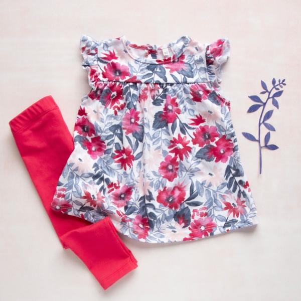 K-Baby Moderné tunika a legíny Kvety - červené, vel. 80-80 (9-12m)
