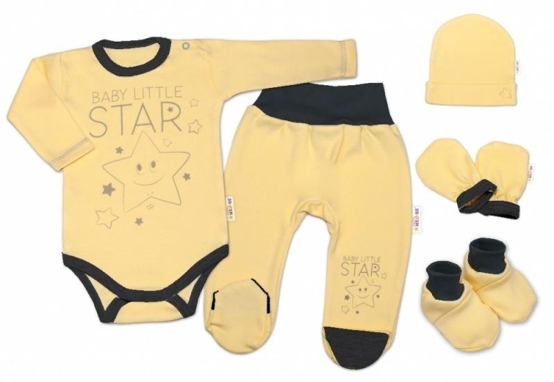 Baby Nellys Súpravička do pôrodnice Baby Little Star - žltá, veľ. 50-#Velikost koj. oblečení;50 (0-1m)