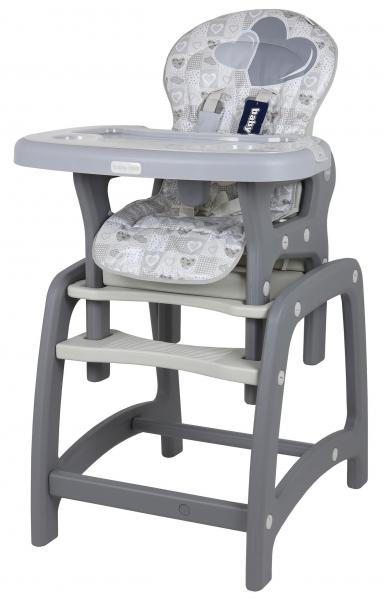 BABY MIX Jedálenská stolička 2v1 - Srdce sivé