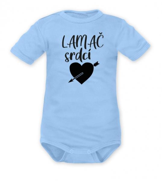 DEJNA Body krátký rukáv Lamač srdcí - modré, veľ. 80-80 (9-12m)