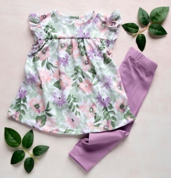 K-Baby Moderná tunika a legíny Lila kvetiny, veľ. 68