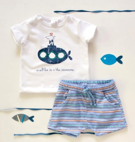 K-Baby 2 dielna detská súprava, triko s kraťasky For Boy - proužky modré, zelené-68 (4-6m)