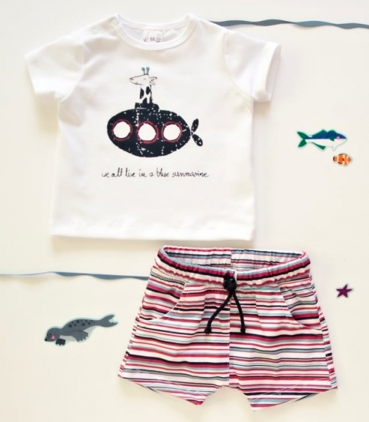 K-Baby 2 dielna detská súprava, triko s kraťasky For Boy - proužky červené, modré-68 (4-6m)