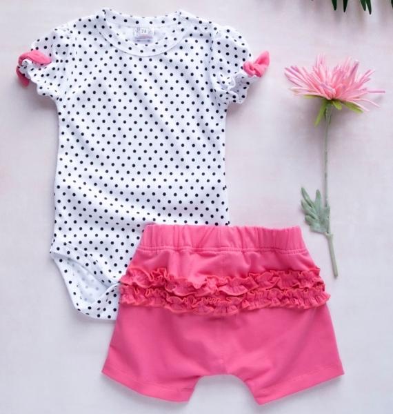 K-Baby 2 dielna detská súprava, body s kraťasky For Girl - puntík, rúžové, veľ. 74