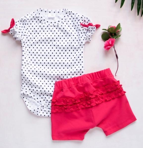 K-Baby 2 dielna detská súprava, body s kraťasky For Girl - puntík, malinové, veľ. 68-68 (4-6m)
