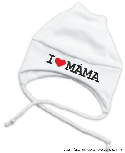 Čiapočka KOLEKCIA I LOVE MAMA na šnúrky - biela