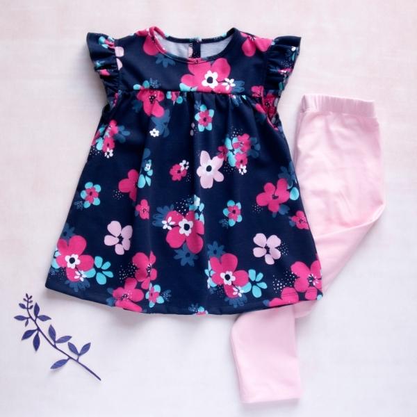 K-Baby Moderné tunika a legíny Květiny v granátové, sv. rúžové legíny, veľ. 98-98 (24-36m)