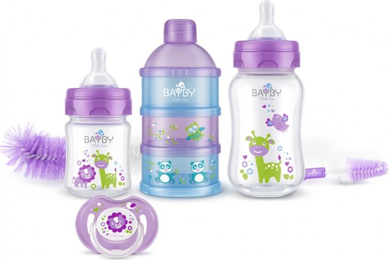 Bayby, Darčeková sada pre novorodencov 6v1 - 0m +, fialová