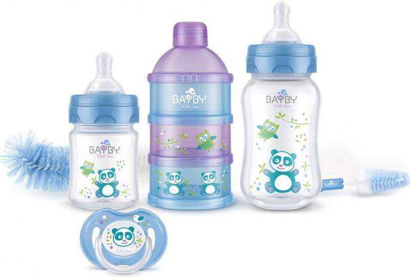 Bayby, Darčeková sada pre novorodencov 6v1 - 6m +, modrá