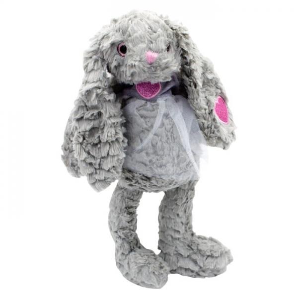 Plyšový zajačik Rozárka v šifónových šatách, túlil, 32 cm