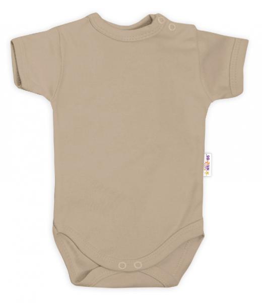 Baby Nellys Bavlnené body kr. rukáv - béžové