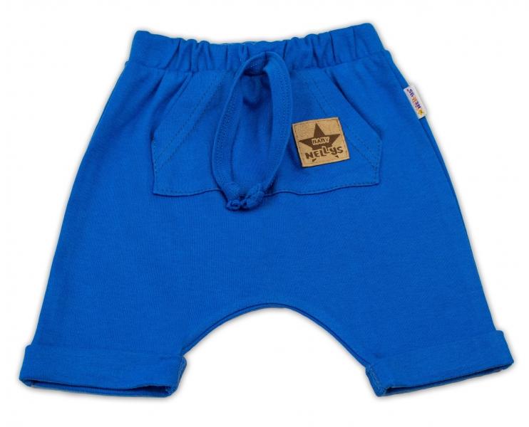 Baby Nellys Bavlnené kraťasy Baggy s klokaním vreckom - modré, veľ. 92