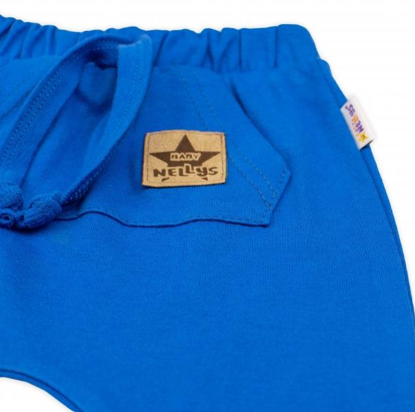Bavlnené kraťasy Baggy s klokaním vreckom - modré, veľ. 104