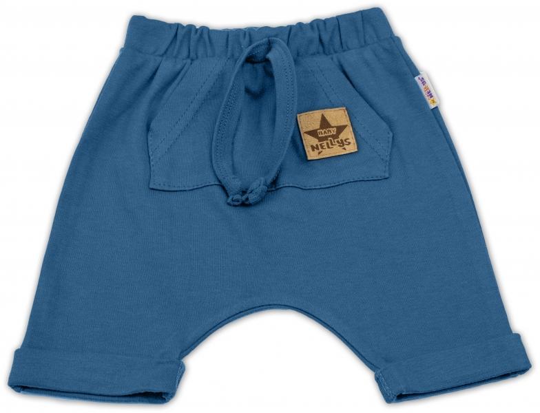 Baby Nellys Bavlnené kraťasy Baggy s klokaním vreckom - nawy, veľ. 98