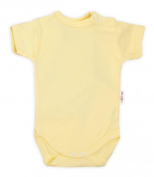 Baby Nellys Bavlnené body Nikolka, kr. rukáv - žlté, veľ. 86