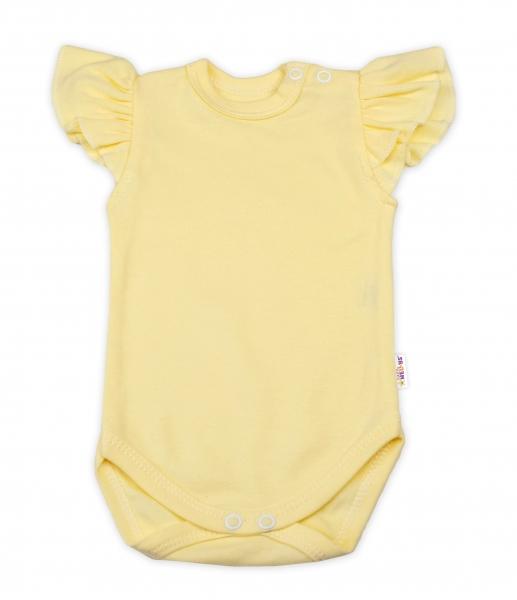 Baby Nellys Bavlnené body Nikolka, kr. rukáv s volánikom -  žlté, veľ. 68