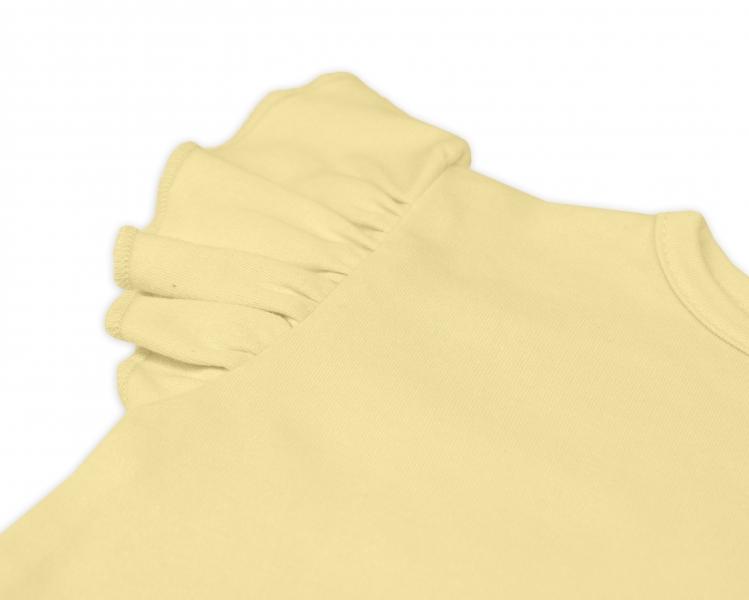 Bavlnené body Nikolka, kr. rukáv s volánikom -  žlté, veľ. 74
