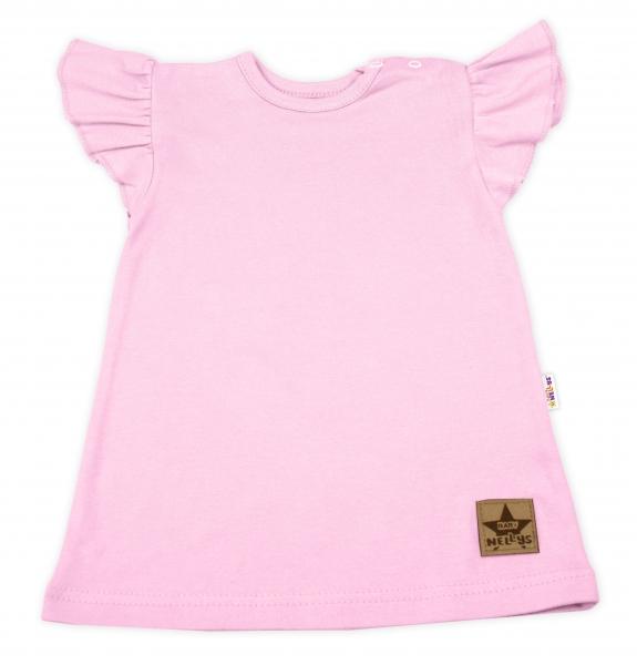 Baby Nellys Bavlnené šaty Nikolka s volánikmi, krátky rukáv - sv. ružové, veľ. 80