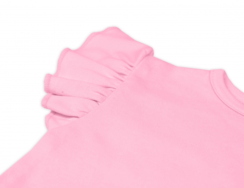 Bavlnené šaty Nikolka s volánikmi, krátky rukáv - sv. ružové, veľ. 98