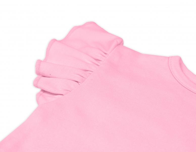 Bavlnené šaty Nikolka s volánikmi, krátky rukáv - sv. ružové, veľ. 104