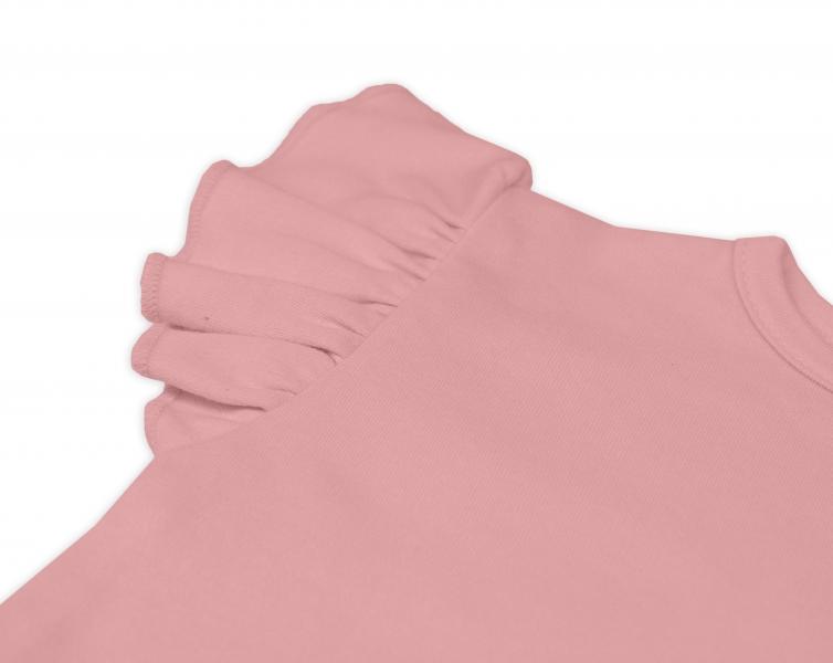 Bavlnené šaty Nikolka s volánikmi, krátky rukáv - starorůžové, veľ. 74