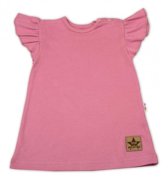 Baby Nellys Bavlnené šaty Nikolka s volánikmi, krátky rukáv - starorůžové, veľ. 80-#Velikost koj. oblečení;80 (9-12m)