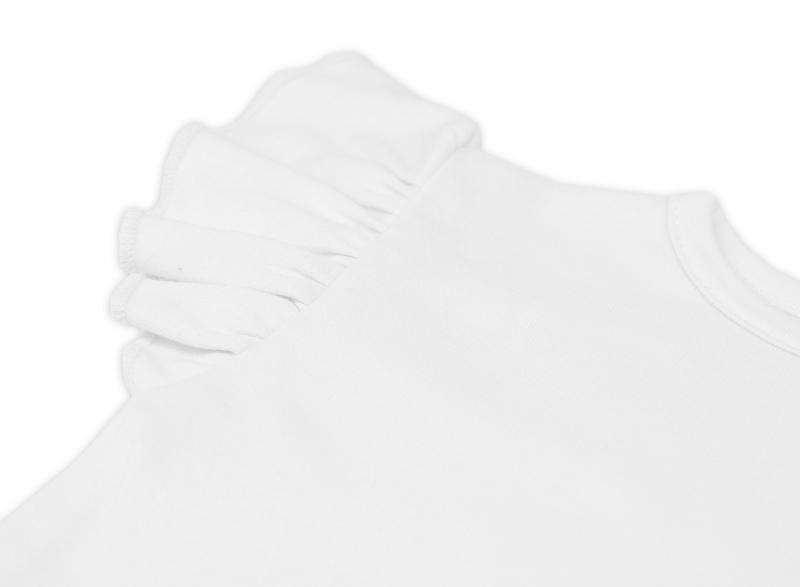 Bavlnené šaty Nikolka s volánikmi, krátky rukáv - smotanová, veľ. 74