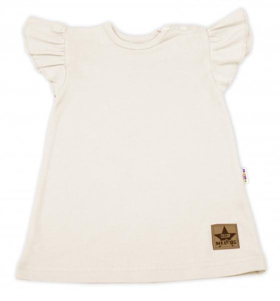 Baby Nellys Bavlnené šaty Nikolka s volánikmi, krátky rukáv - smotanová, veľ. 80-#Velikost koj. oblečení;80 (9-12m)