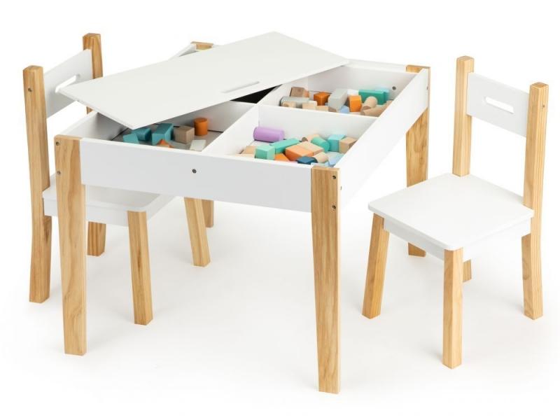 ECO TOYS Detský nábytok, prírodná, biela, s tabuľou, a úložným priestorom