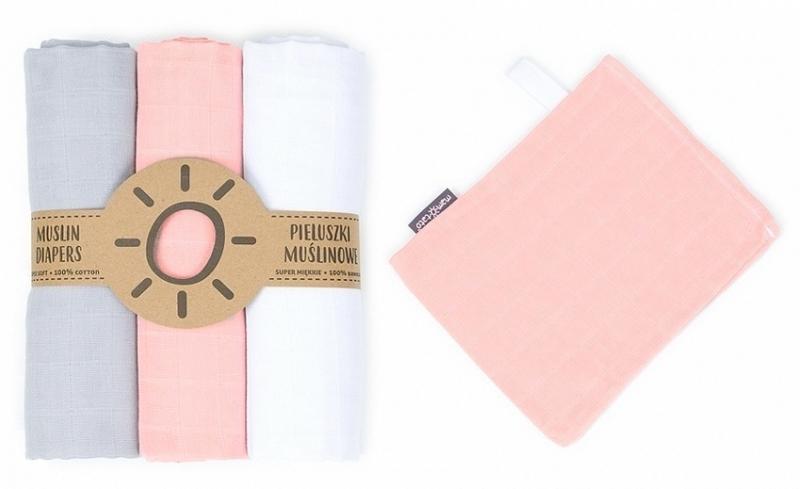 Mamo-Tato mušelínové plienky 3ks + žinka zadarmo - biela, šedá, růžová