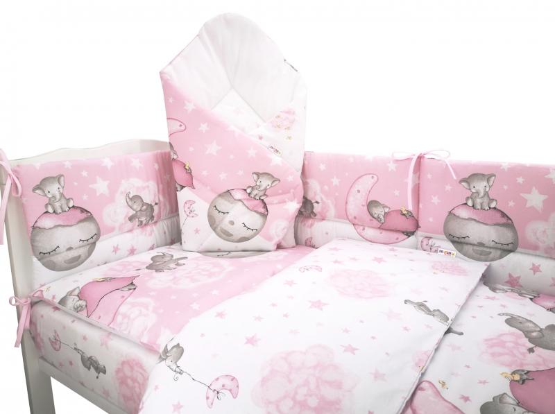 3-dielna sada mantinel s obliečkami + zavinovačka zadarmo - Baby Elephant, růžový