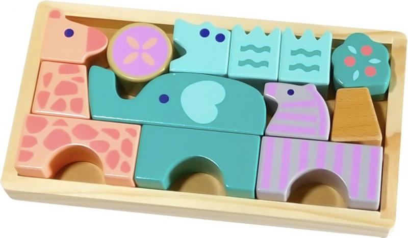 Drevené skladacie kocky - zvieratká
